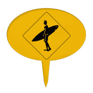 Surfer Crossing Warning Sign, San Diego Cake Topper