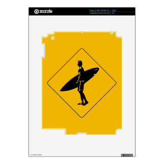 Surfer Crossing Warning Sign, San Diego Decal For iPad 2
