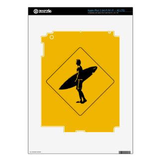 Surfer Crossing Warning Sign, San Diego iPad 3 Decal