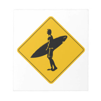 Surfer Crossing Warning Sign, San Diego Notepad