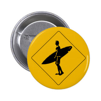 Surfer Crossing Warning Sign, San Diego Pinback Button
