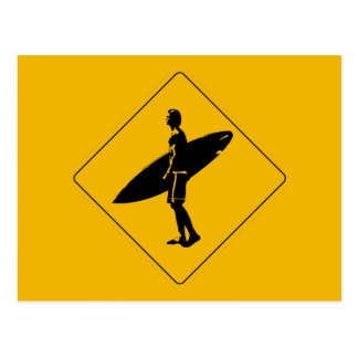 Surfer Crossing Warning Sign, San Diego Postcard