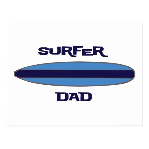 Surfer Dad Blue Post Cards