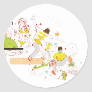 surfer design classic round sticker