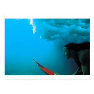 Surfer diving under a wave in Rapa Nui Postcard