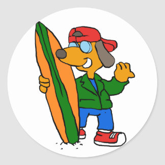 Surfer dog asking for a ride classic round sticker