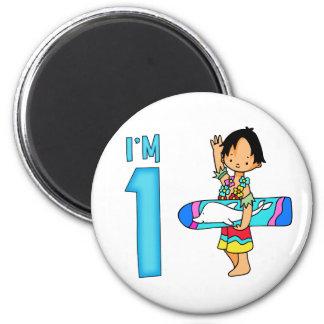 Surfer Dude 1st Birthday Fridge Magnet
