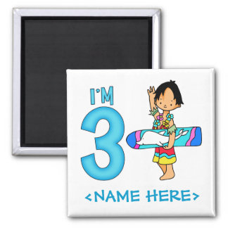 Surfer Dude 3rd Birthday 2 Inch Square Magnet