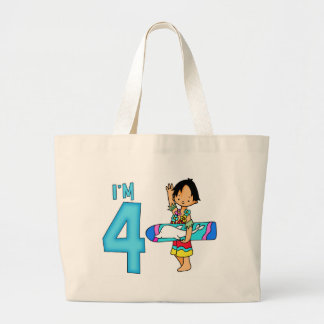 Surfer Dude 4th Birthday Large Tote Bag