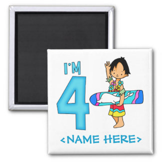 Surfer Dude 4th Birthday 2 Inch Square Magnet