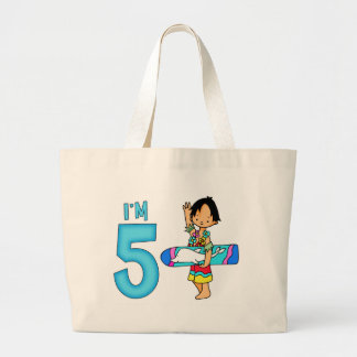 Surfer Dude 5th Birthday Large Tote Bag