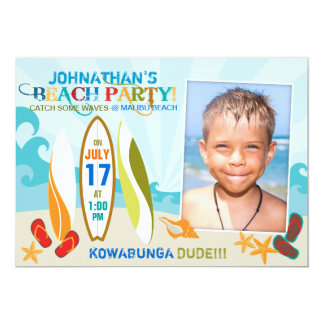 Surfer Dude and Surf Boards Beach Birthday 2 5x7 Paper Invitation Card