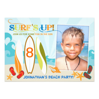 Surfer Dude and Surf Boards Beach Birthday Personalized Invitation