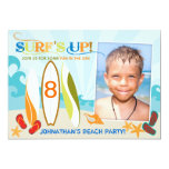 Surfer Dude and Surf Boards Beach Birthday 5x7 Paper Invitation Card