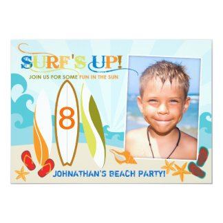 "Surfer Dude and Surf Boards Beach Birthday 5"" X 7"" Invitation Card"
