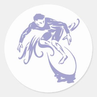 Surfer Dude Classic Round Sticker