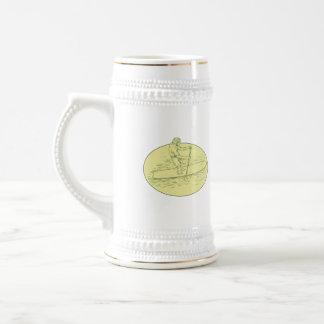 Surfer Dude Stand Up Paddle Oval Drawing Beer Stein
