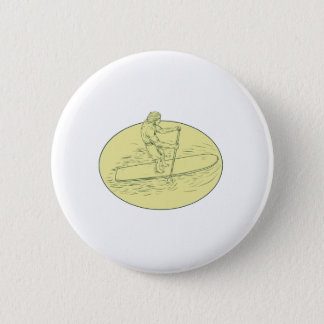 Surfer Dude Stand Up Paddle Oval Drawing Button