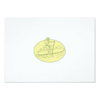 Surfer Dude Stand Up Paddle Oval Drawing Card