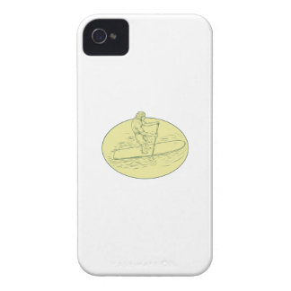 Surfer Dude Stand Up Paddle Oval Drawing iPhone 4 Case