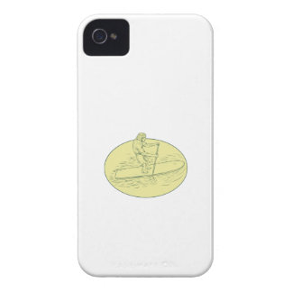 Surfer Dude Stand Up Paddle Oval Drawing iPhone 4 Cover