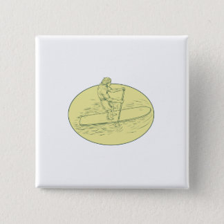 Surfer Dude Stand Up Paddle Oval Drawing Pinback Button