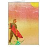 Surfer Dude - Vintage Poster Style Card
