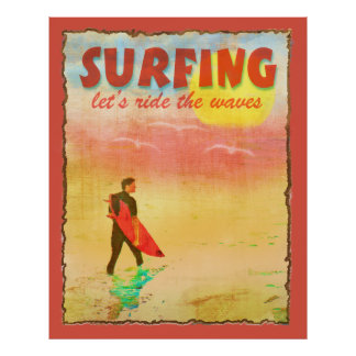 Surfer Dude Vintage Style Poster