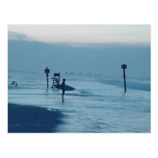 Surfer Dusk Ponce Inlet FL Beach Tide Postcard