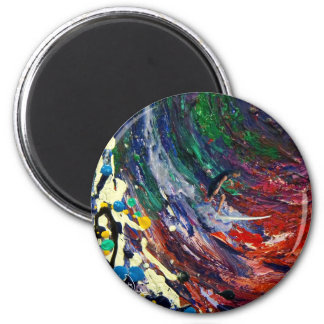 Surfer Embraced by the Wave Art 2 Inch Round Magnet