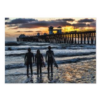 Surfer Friends near pier 4.5x6.25 Paper Invitation Card