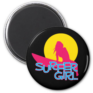 Surfer Girl 2 Inch Round Magnet