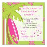 Surfer Girl 5.25x5.25 Square Paper Invitation Card