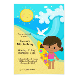 Surfer girl 5x7 paper invitation card