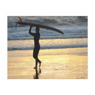 Surfer Girl at Sunset Canvas Print
