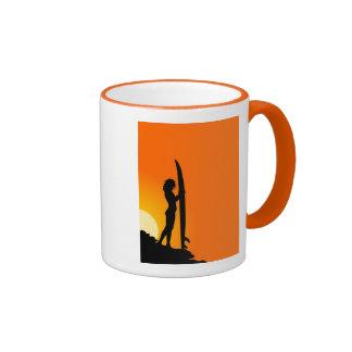 Surfer girl at sunset coffee mugs
