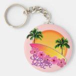 Surfer Girl Basic Round Button Keychain