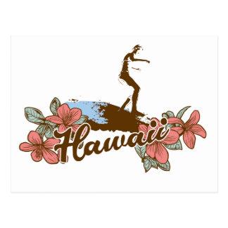 surfer girl beach hawaii surf hawaiian postcard