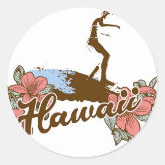surfer girl beach hawaii surf hawaiian classic round sticker