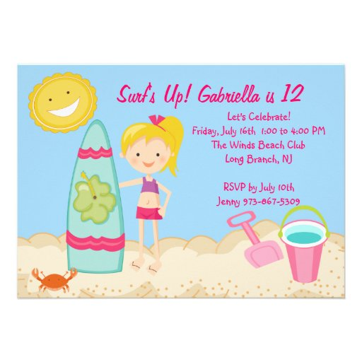 Personalized beach birthday party invitations custominvitations4u surfer girl beach party birthday invitation filmwisefo