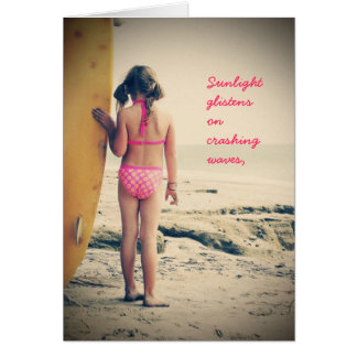 Surfer Girl Birthday Card
