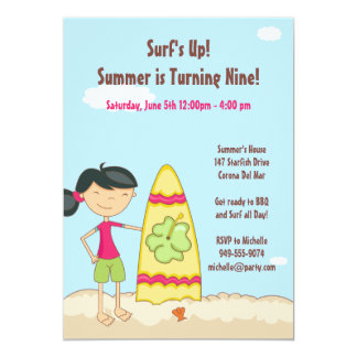 "Surfer Girl Birthday Party Invitation 5"" X 7"" Invitation Card"