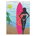 Surfer Girl Blank Greeting Card