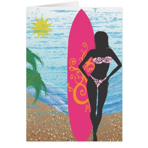 Surfer Girl Blank Greeting Card