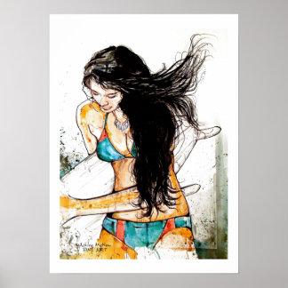 Surfer Girl blown hair Poster
