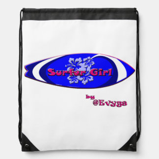 Surfer Girl by Evygs Drawstring Bag