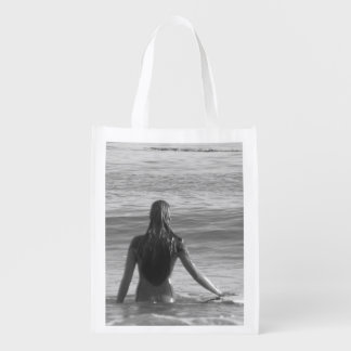Surfer Girl Canvas Reusable Grocery Bag