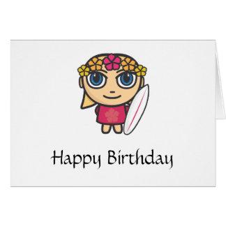 Surfer Girl Cartoon Character Birthday Card