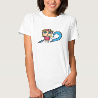 Surfer Girl Cartoon Character Fitted  Tee Shirt