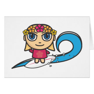 Surfer Girl Cartoon Character Greeting Card
